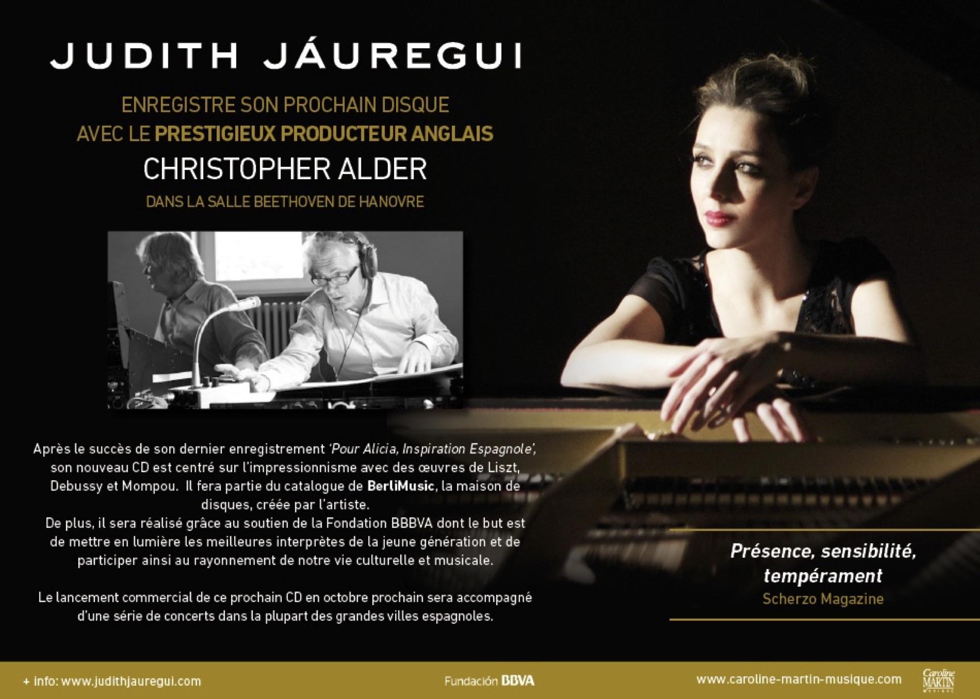 Judith Jáuregui enregistre son prochain disque